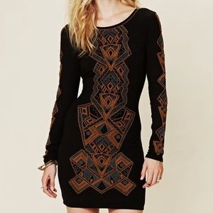 Free People // Long Sleeve Embroidered Dress
